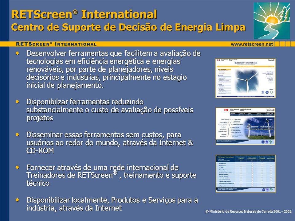 RETScreen® International Centro de Suporte de Decisão de Energia Limpa