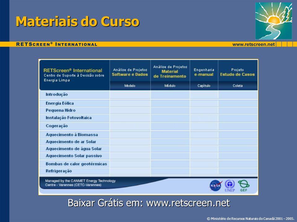 Baixar Grátis em: www.retscreen.net
