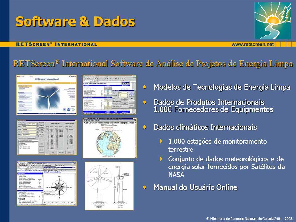 Software & Dados RETScreen® International Software de Análise de Projetos de Energia Limpa. Modelos de Tecnologias de Energia Limpa.