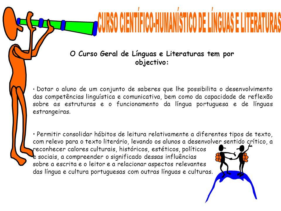 O Curso Geral de Línguas e Literaturas tem por objectivo: