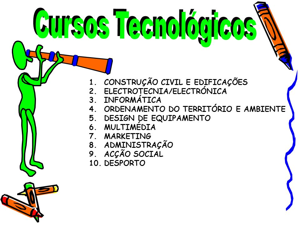 Cursos TecnológicosCONSTRUÇÃO CIVIL E EDIFICAÇÕES. ELECTROTECNIA/ELECTRÓNICA. INFORMÁTICA. ORDENAMENTO DO TERRITÓRIO E AMBIENTE.