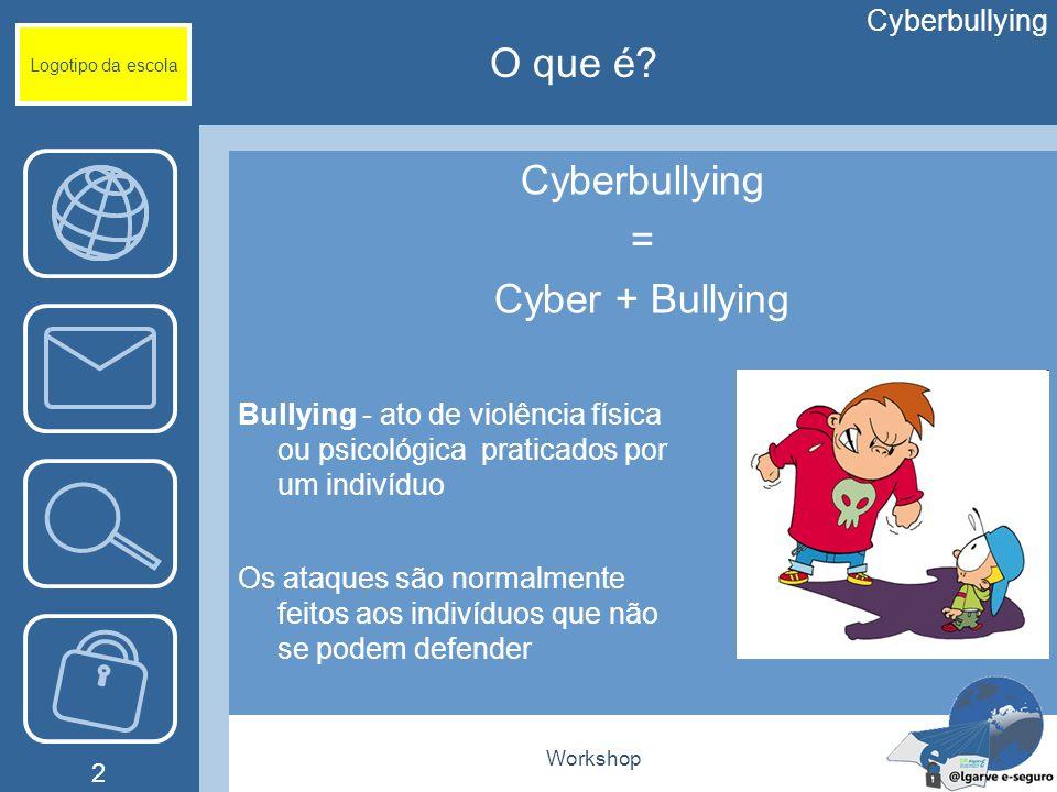 O que é Cyberbullying = Cyber + Bullying Cyberbullying