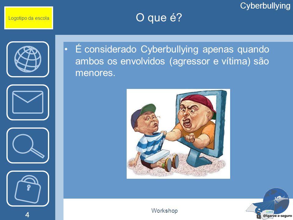 Cyberbullying Logotipo da escola. O que é É considerado Cyberbullying apenas quando ambos os envolvidos (agressor e vítima) são menores.