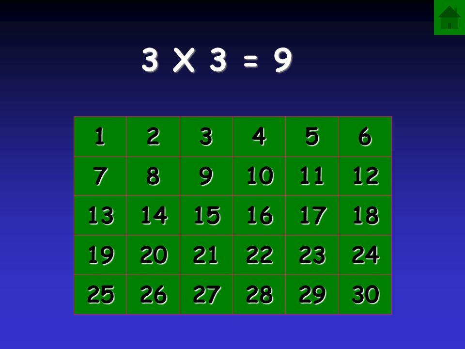 3 X 3 = 9 1 2 3 4 5 6 7 8 9 10 11 12 13 14 15 16 17 18 19 20 21 22 23 24 25 26 27 28 29 30