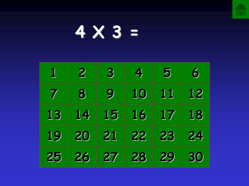 4 X 3 = 1 2 3 4 5 6 7 8 9 10 11 12 13 14 15 16 17 18 19 20 21 22 23 24 25 26 27 28 29 30