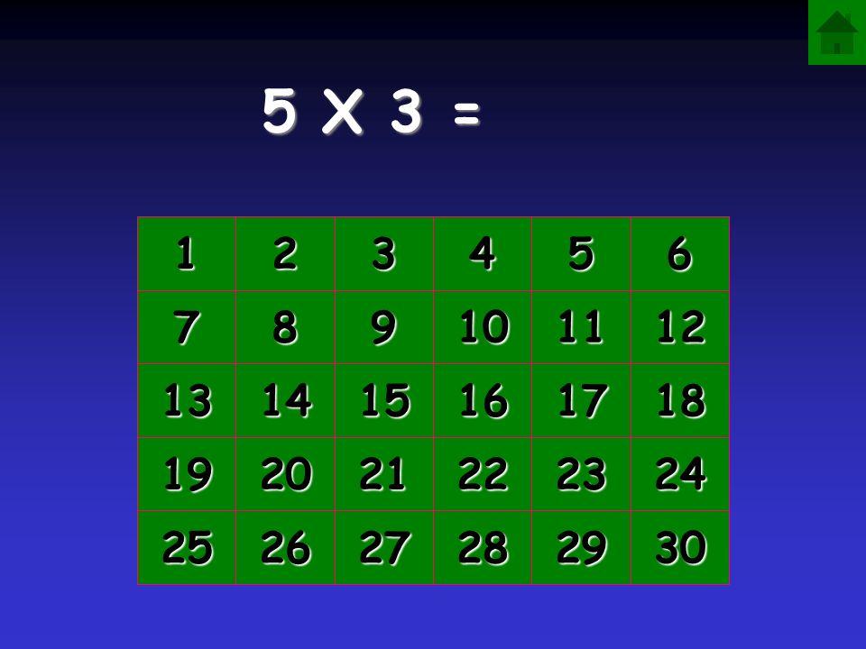 5 X 3 = 1 2 3 4 5 6 7 8 9 10 11 12 13 14 15 16 17 18 19 20 21 22 23 24 25 26 27 28 29 30