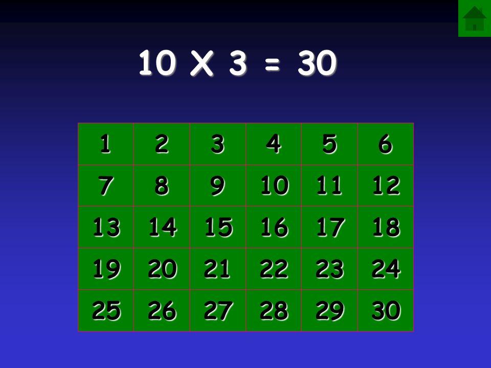 10 X 3 = 30 1 2 3 4 5 6 7 8 9 10 11 12 13 14 15 16 17 18 19 20 21 22 23 24 25 26 27 28 29 30