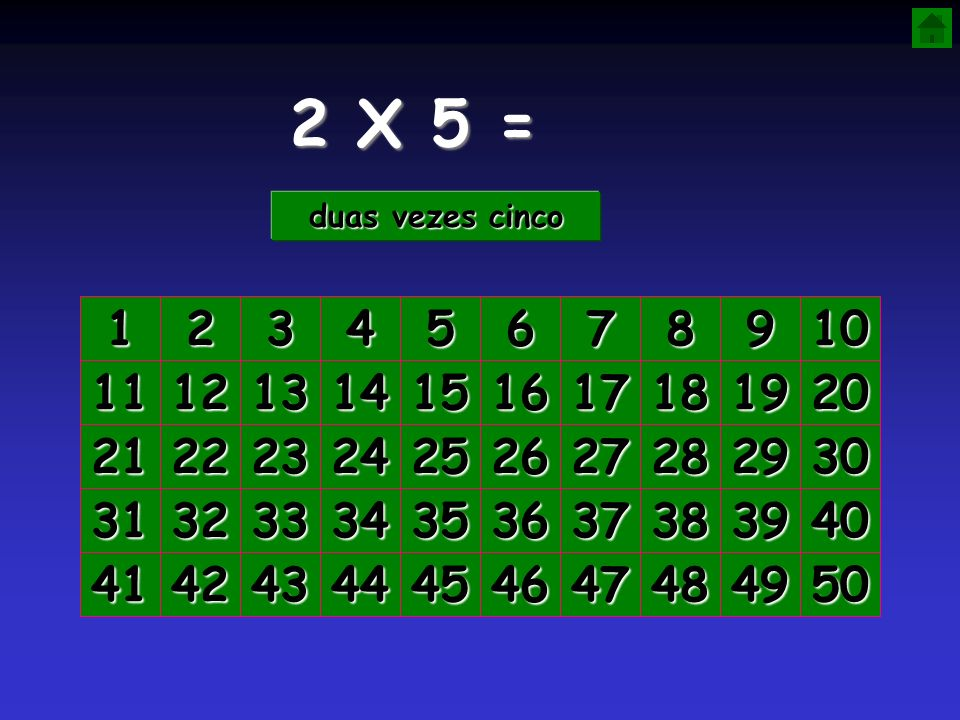 2 X 5 = duas vezes cinco. 1. 2. 3. 4. 5. 6. 7. 8. 9. 10. 11. 12. 13. 14. 15. 16. 17.