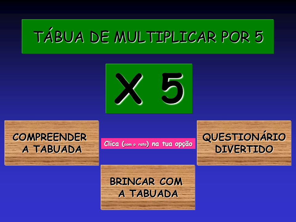 TÁBUA DE MULTIPLICAR POR 5