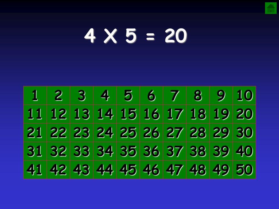 4 X 5 = 20 1. 2. 3. 4. 5. 6. 7. 8. 9. 10. 11. 12. 13. 14. 15. 16. 17. 18. 19. 20.