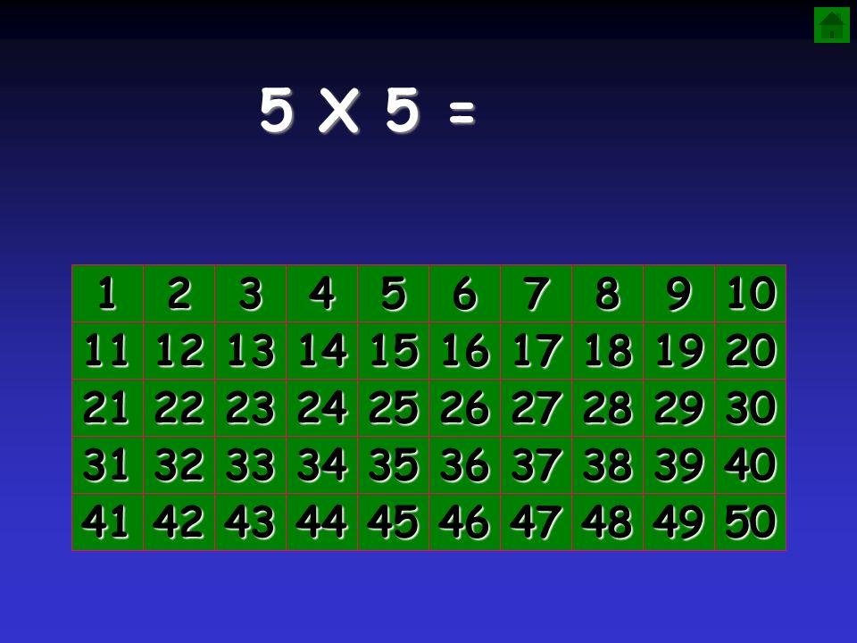 5 X 5 = 1. 2. 3. 4. 5. 6. 7. 8. 9. 10. 11. 12. 13. 14. 15. 16. 17. 18. 19. 20. 21.