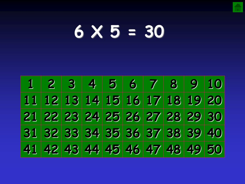 6 X 5 = 30 1. 2. 3. 4. 5. 6. 7. 8. 9. 10. 11. 12. 13. 14. 15. 16. 17. 18. 19. 20.