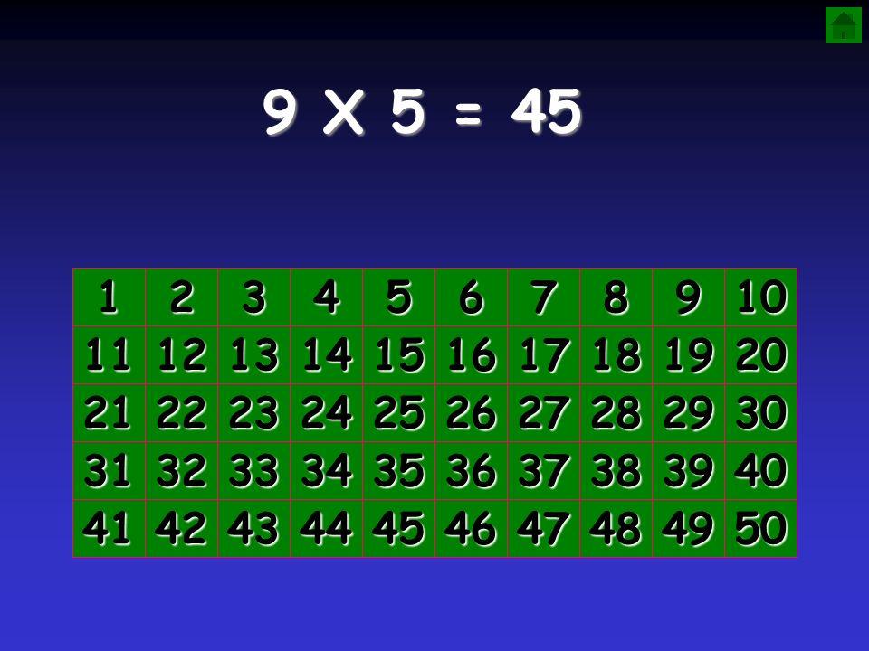 9 X 5 = 45 1. 2. 3. 4. 5. 6. 7. 8. 9. 10. 11. 12. 13. 14. 15. 16. 17. 18. 19. 20.