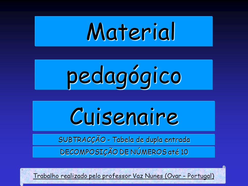 Material pedagógico Cuisenaire SUBTRACÇÃO - Tabela de dupla entrada