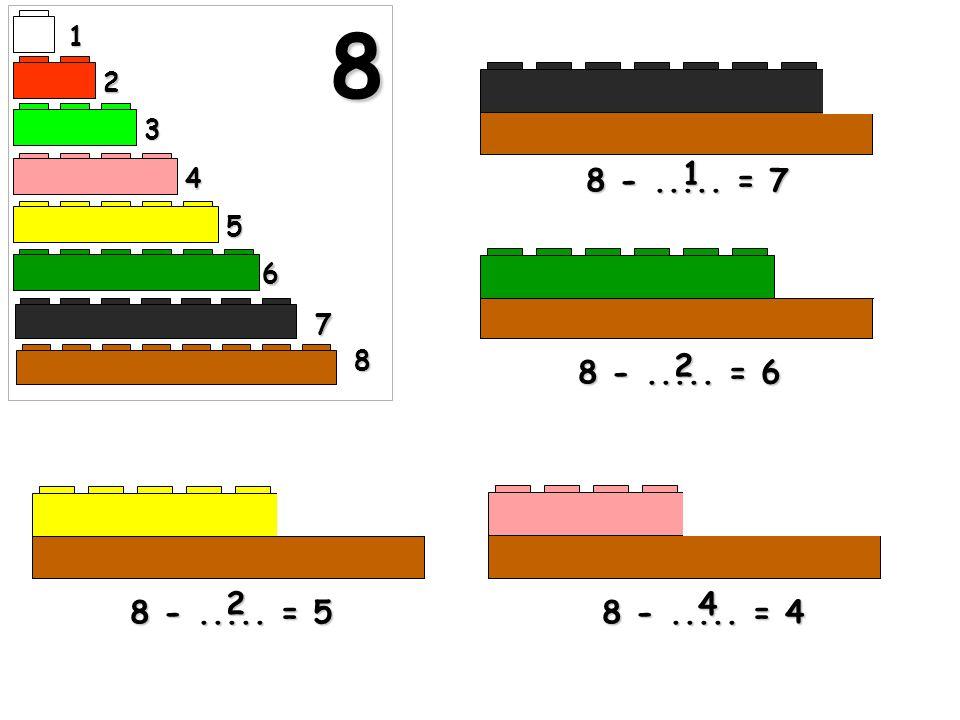 8 1 2 3 1 4 8 - ..... = 7 5 6 7 8 2 8 - ..... = 6 2 4 8 - ..... = 5 8 - ..... = 4
