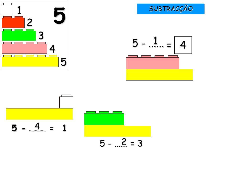 1 5 SUBTRACÇÃO 2 3 1 5 - ...... = 4 4 5 4 5 - .............. = 1 2 5 - ...... = 3