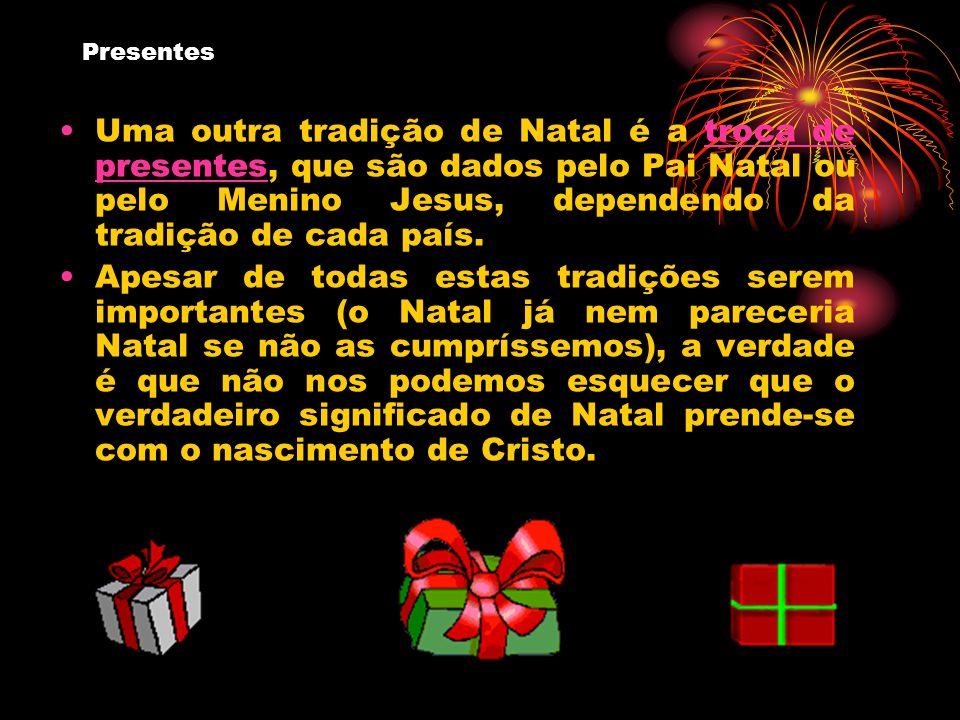 PresentesUma outra tradição de Natal é a troca de presentes, que são dados pelo Pai Natal ou pelo Menino Jesus, dependendo da tradição de cada país.