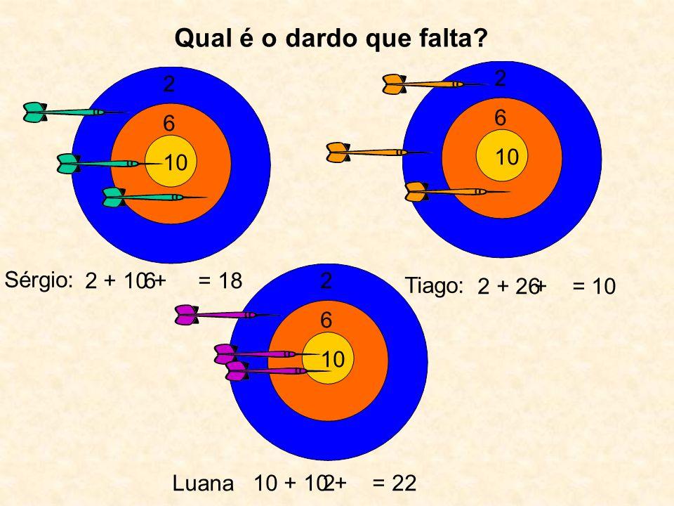 Qual é o dardo que falta 2 2 6 6 10 10 Sérgio: 2 + 10 + = 18 6 2