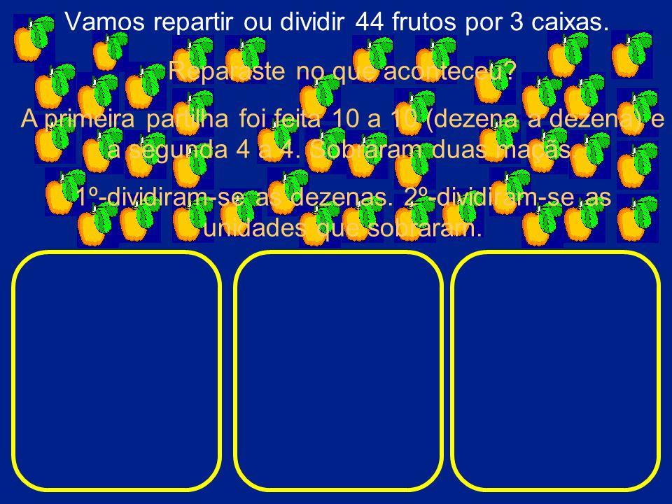 Vamos repartir ou dividir 44 frutos por 3 caixas.