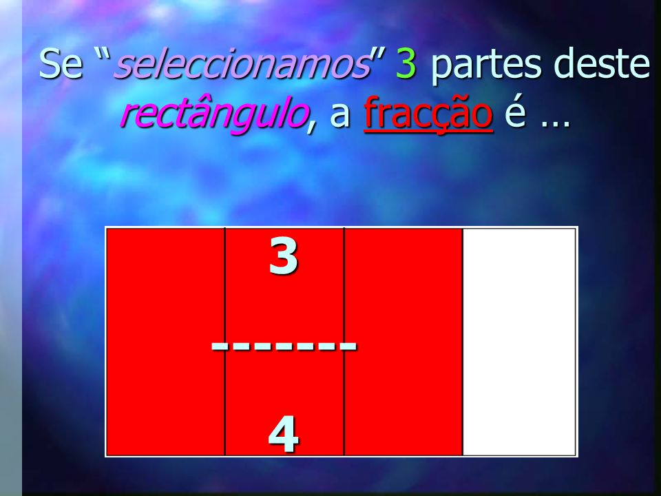 Se seleccionamos 3 partes deste rectângulo, a fracção é …