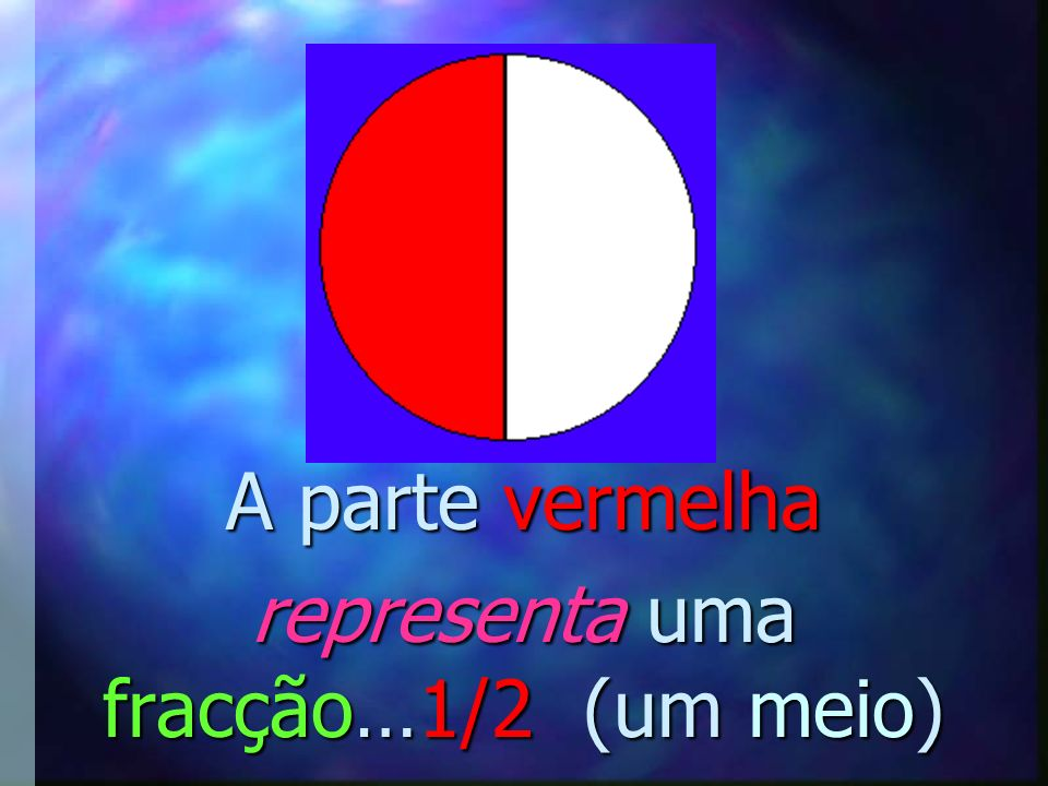 A parte vermelha representa uma fracção…1/2 (um meio)