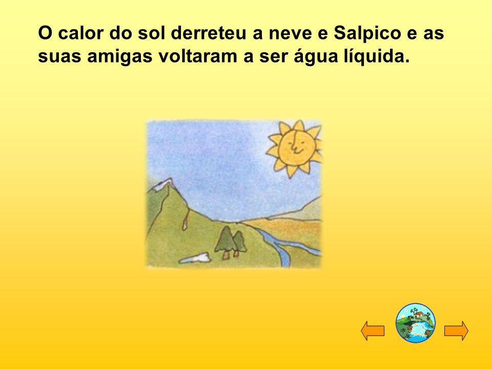 O calor do sol derreteu a neve e Salpico e as suas amigas voltaram a ser água líquida.