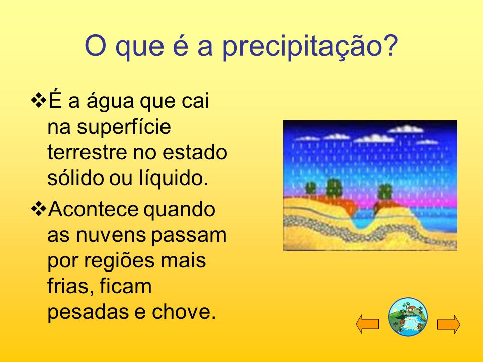 O que é a precipitação É a água que cai na superfície terrestre no estado sólido ou líquido.