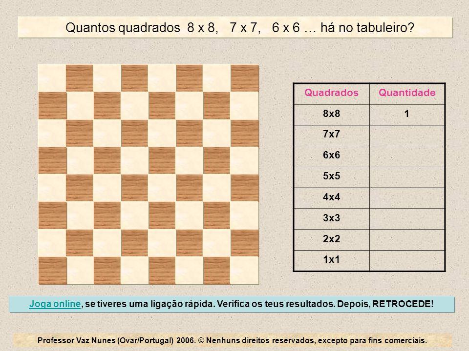 Quantos quadrados 8 x 8, 7 x 7, 6 x 6 … há no tabuleiro
