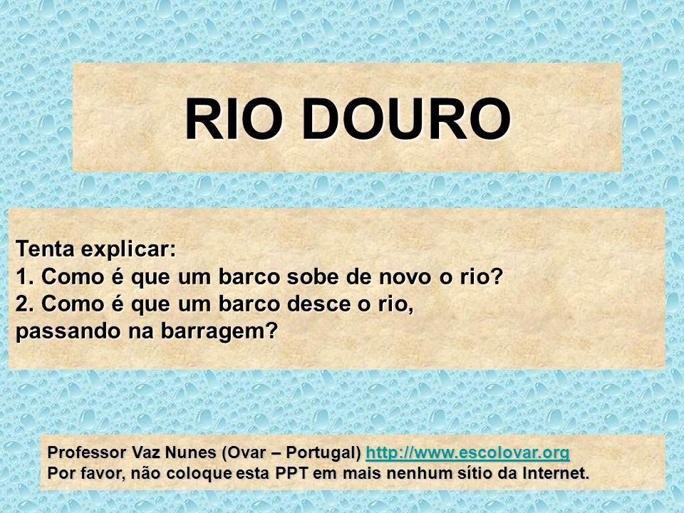 RIO DOURO Tenta explicar: Como é que um barco sobe de novo o rio