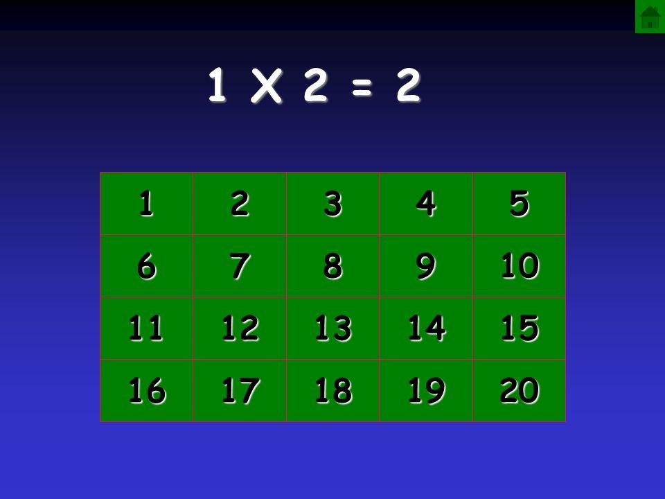 1 X 2 = 2 1 2 3 4 5 6 7 8 9 10 11 12 13 14 15 16 17 18 19 20