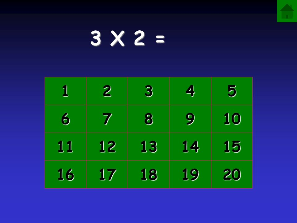 3 X 2 = 1 2 3 4 5 6 7 8 9 10 11 12 13 14 15 16 17 18 19 20