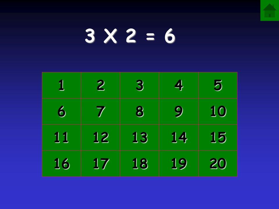 3 X 2 = 6 1 2 3 4 5 6 7 8 9 10 11 12 13 14 15 16 17 18 19 20