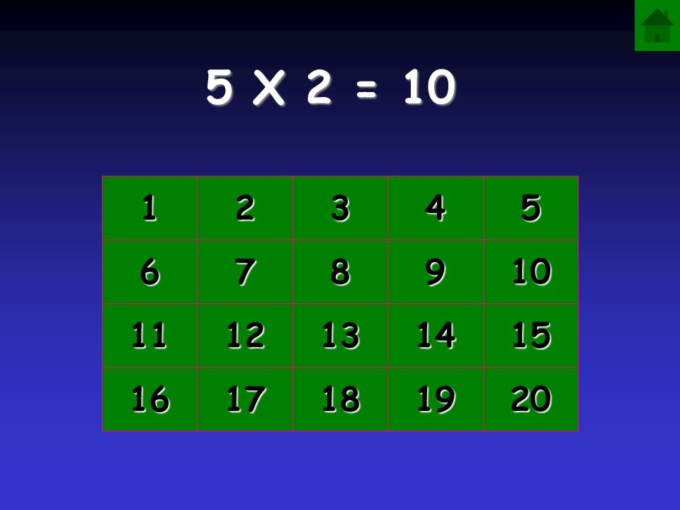 5 X 2 = 10 1 2 3 4 5 6 7 8 9 10 11 12 13 14 15 16 17 18 19 20