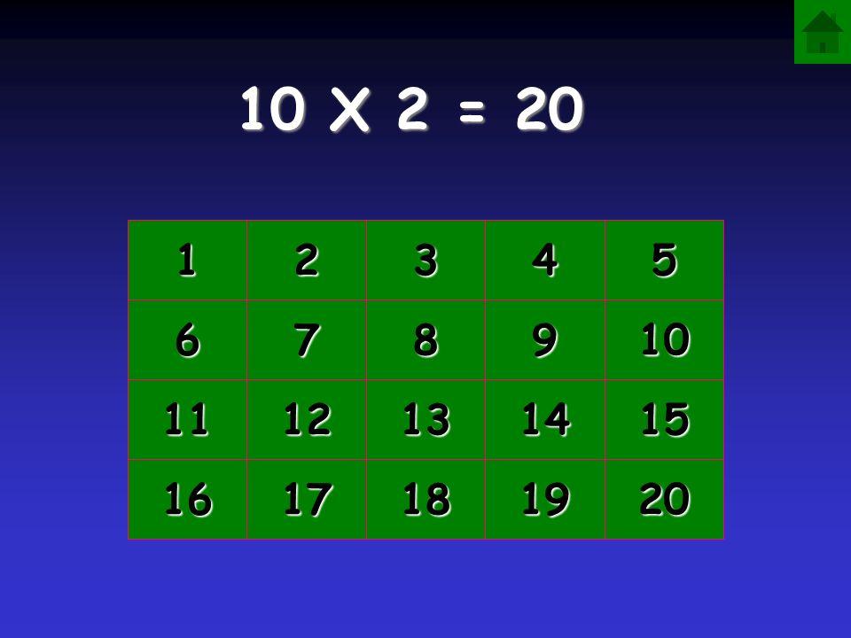 10 X 2 = 20 1 2 3 4 5 6 7 8 9 10 11 12 13 14 15 16 17 18 19 20