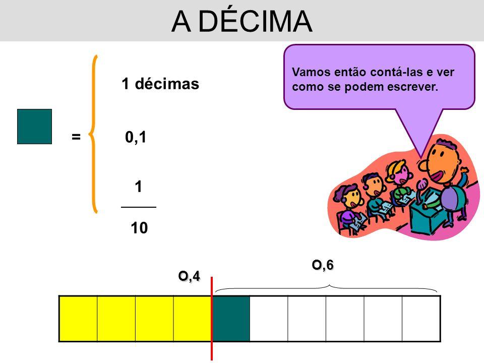 A DÉCIMAVamos então contá-las e ver como se podem escrever. 1 décimas. = 0,1. 1. __________. 10. O,6.