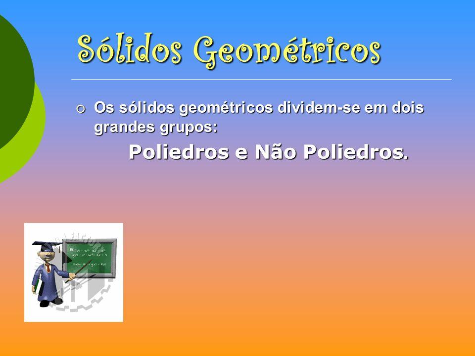 Sólidos GeométricosOs sólidos geométricos dividem-se em dois grandes grupos: Poliedros e Não Poliedros.