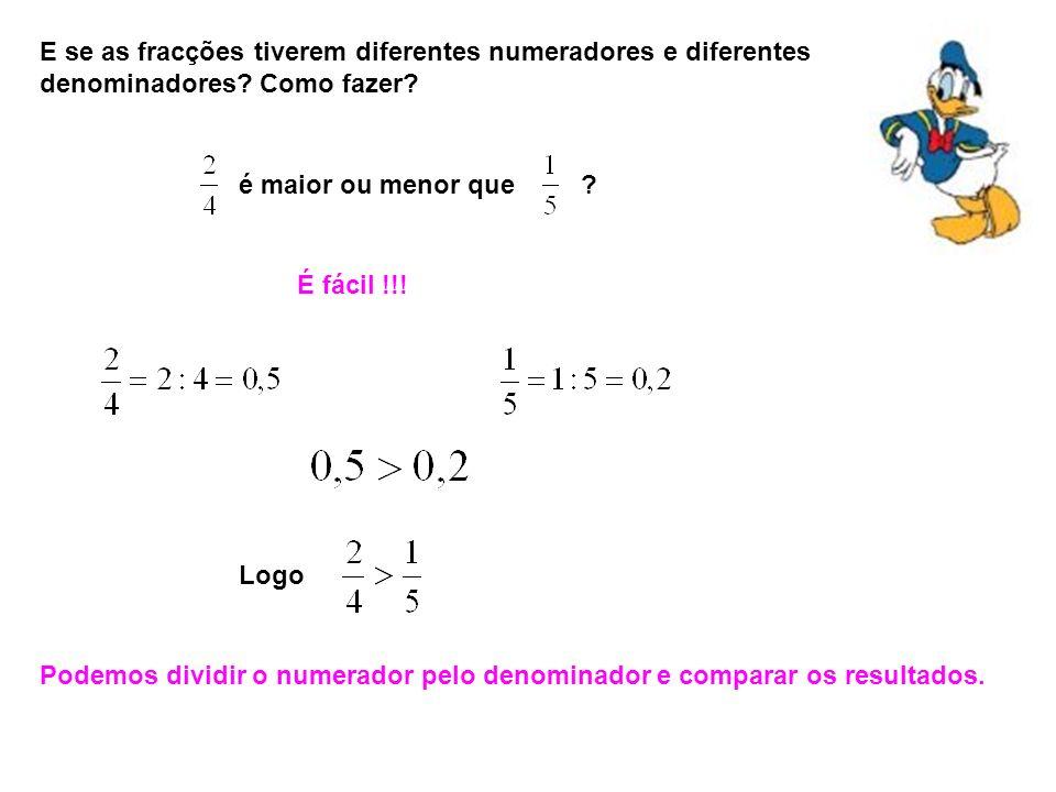 E se as fracções tiverem diferentes numeradores e diferentes denominadores Como fazer
