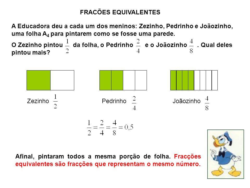 FRACÕES EQUIVALENTES A Educadora deu a cada um dos meninos: Zezinho, Pedrinho e Joãozinho, uma folha A4 para pintarem como se fosse uma parede.
