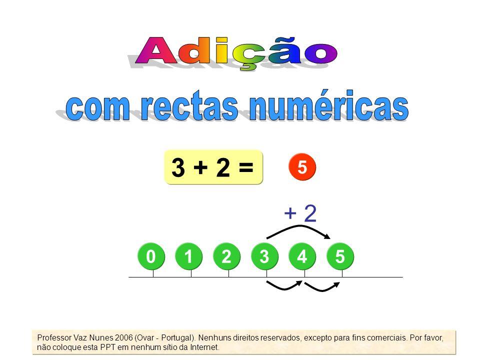 3 + 2 = Adição com rectas numéricas + 2 5 1 2 3 4 5