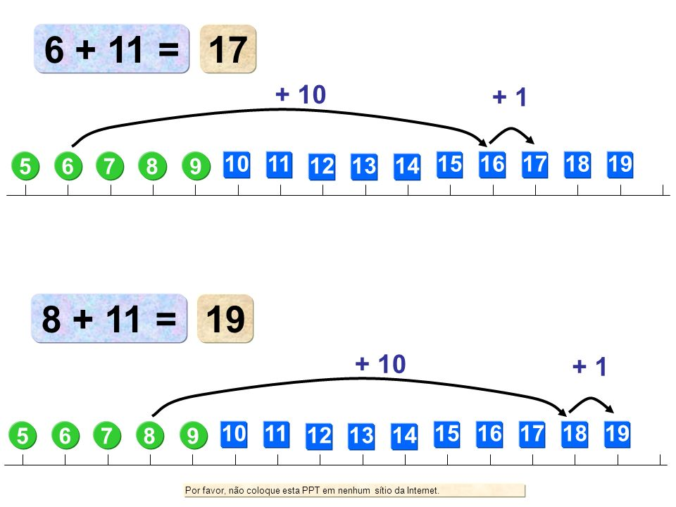 6 + 11 = 17. + 10. + 1. 5. 6. 7. 8. 9. 10. 11. 12. 13. 14. 15. 16. 17. 18. 19. 8 + 11 =