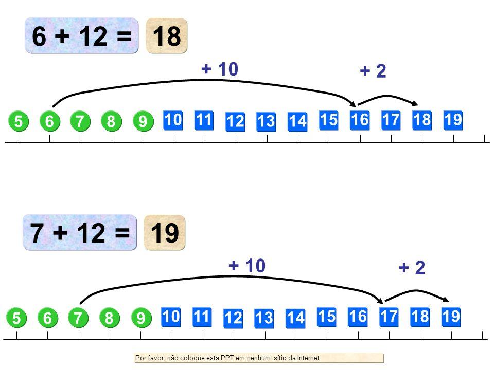 6 + 12 =18. + 10. + 2. 5. 6. 7. 8. 9. 10. 11. 12. 13. 14. 15. 16. 17. 18. 19. 7 + 12 = 19. + 10. + 2.