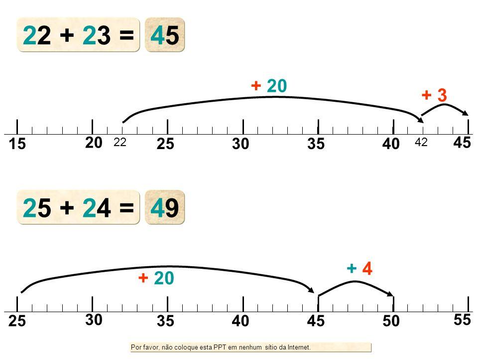 22 + 23 = 45 + 20 + 3 15 20 22 25 30 35 40 42 45 25 + 24 = 49 + 4 + 20 25 30 35 40 45 50 55