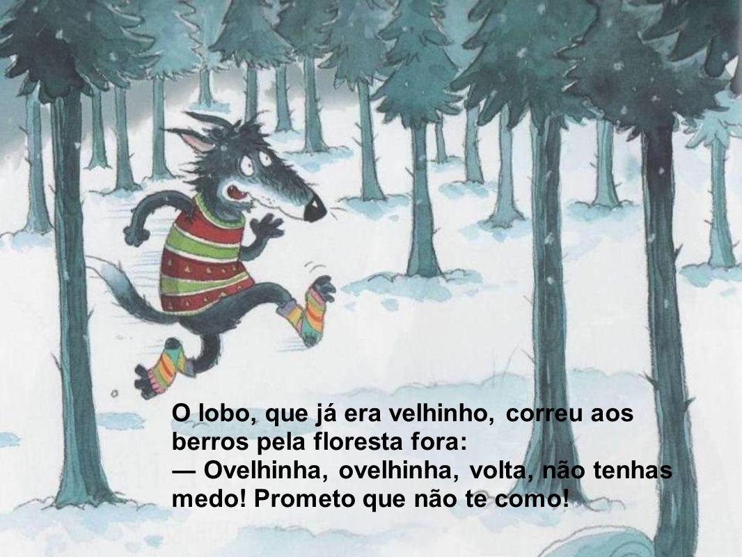 O lobo, que já era velhinho, correu aos berros pela floresta fora: