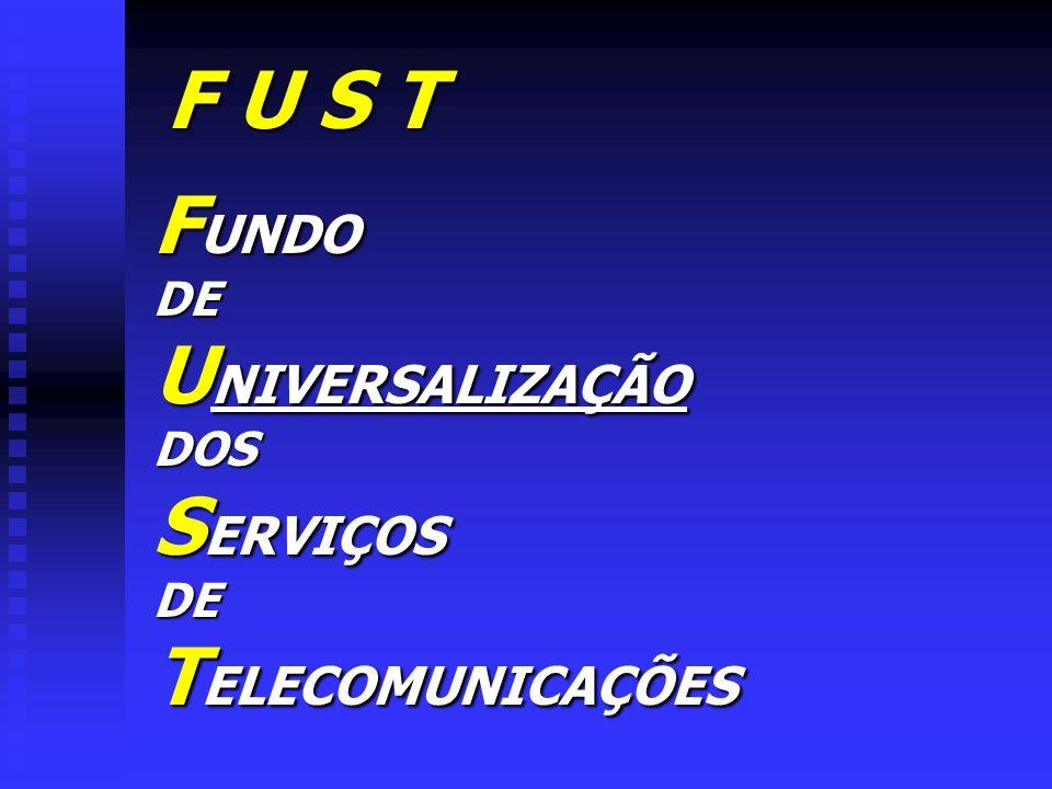 F U S T FUNDO DE UNIVERSALIZAÇÃO DOS SERVIÇOS TELECOMUNICAÇÕES