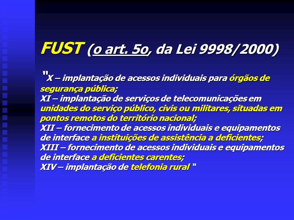 FUST (o art. 5o, da Lei 9998/2000) X – implantação de acessos individuais para órgãos de segurança pública;