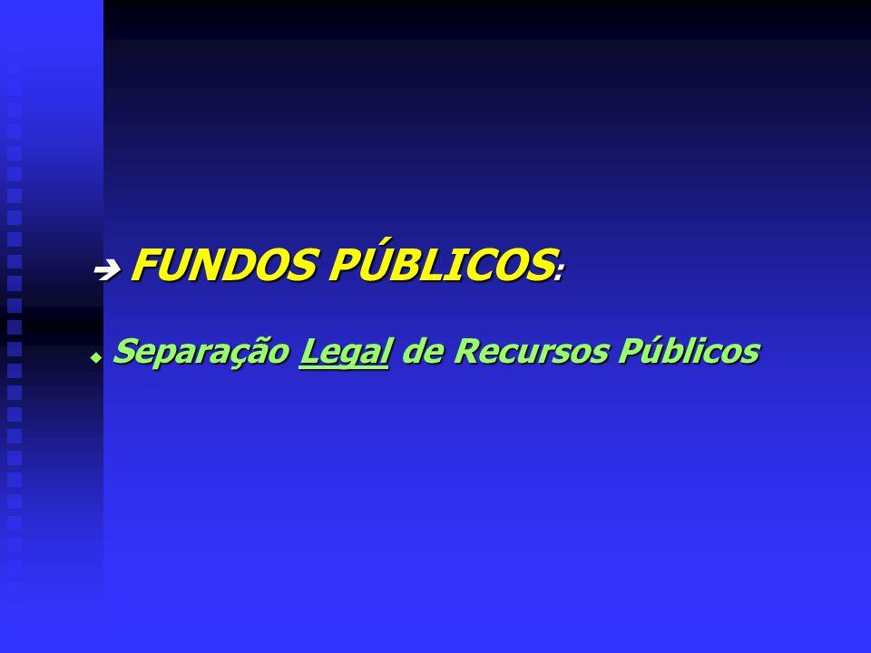  FUNDOS PÚBLICOS: Separação Legal de Recursos Públicos
