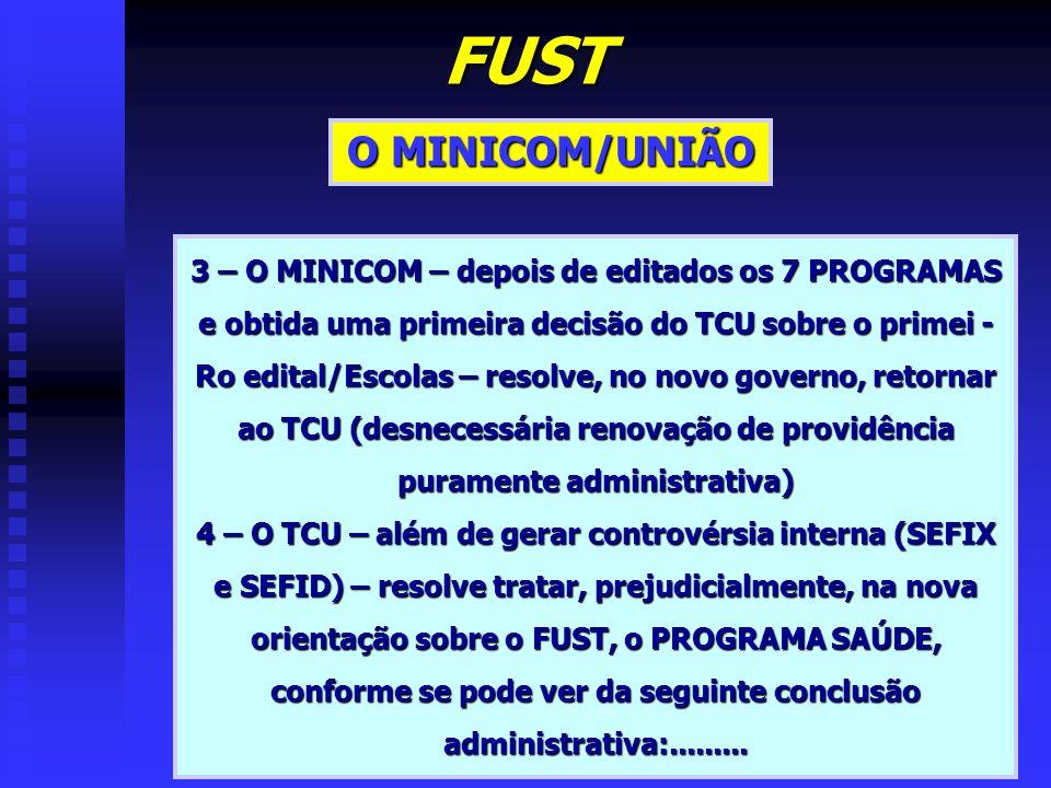 FUST O MINICOM/UNIÃO. 3 – O MINICOM – depois de editados os 7 PROGRAMAS e obtida uma primeira decisão do TCU sobre o primei -