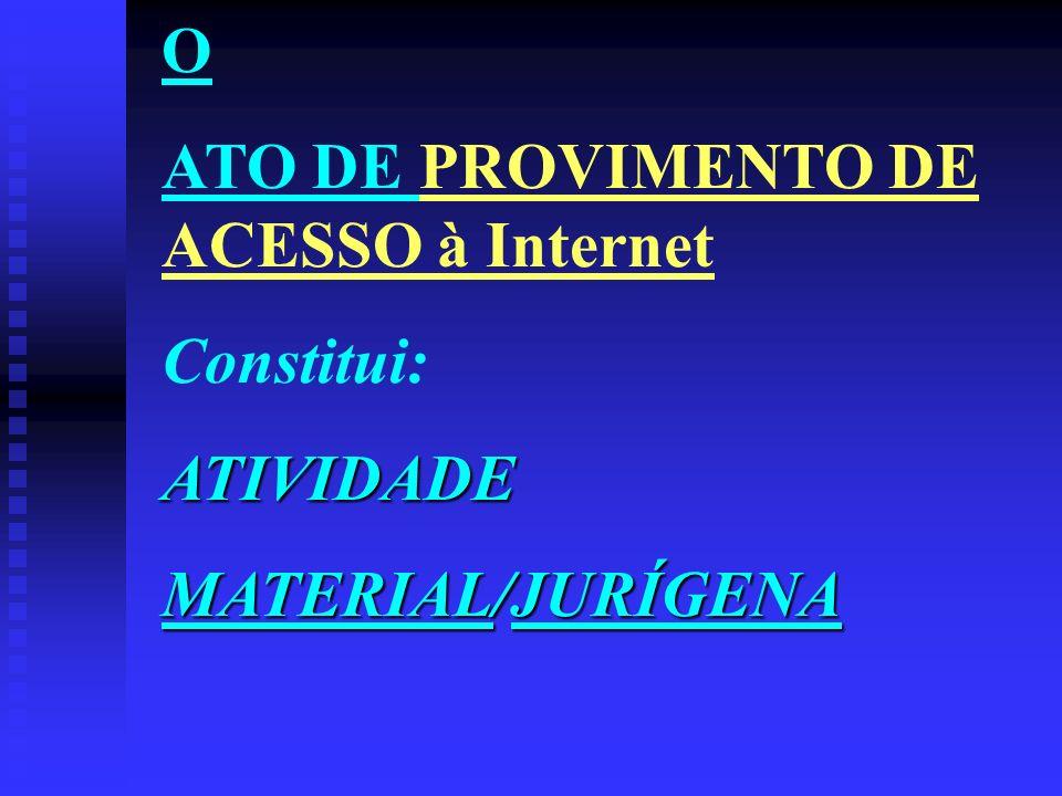 O ATO DE PROVIMENTO DE ACESSO à Internet Constitui: ATIVIDADE MATERIAL/JURÍGENA