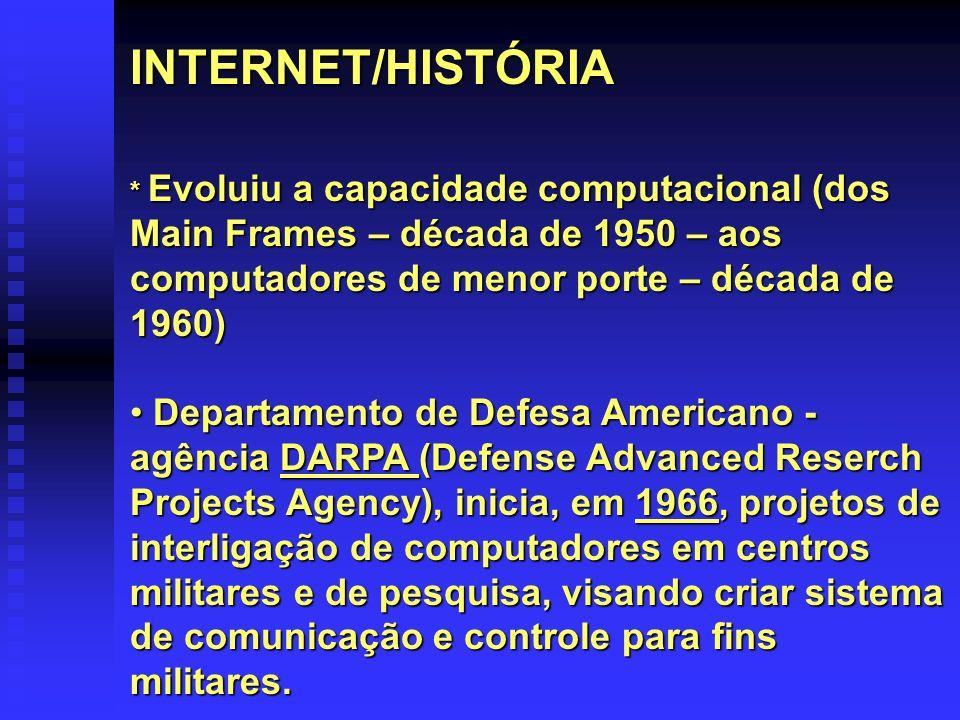 INTERNET/HISTÓRIA * Evoluiu a capacidade computacional (dos Main Frames – década de 1950 – aos computadores de menor porte – década de 1960)