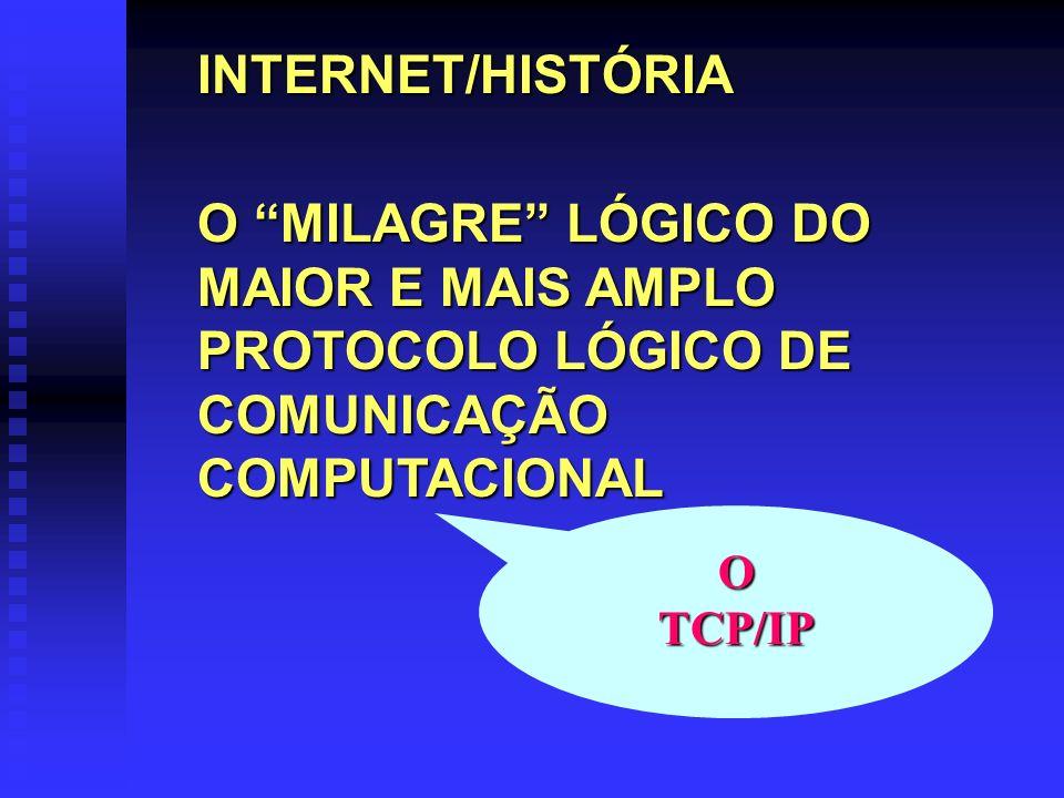 INTERNET/HISTÓRIAO MILAGRE LÓGICO DO MAIOR E MAIS AMPLO PROTOCOLO LÓGICO DE COMUNICAÇÃO COMPUTACIONAL.